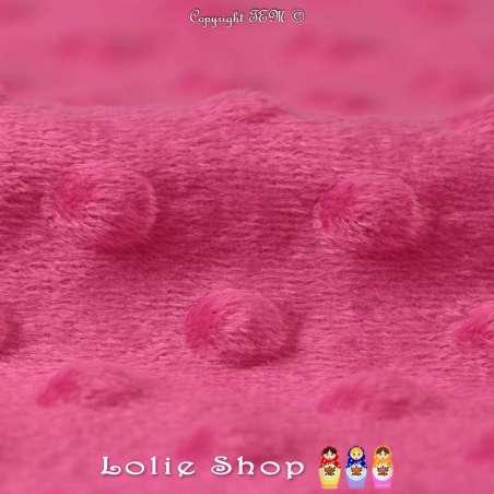 Tissu Velours Minky Doux À Pois Fushia