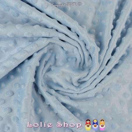 Tissu Velours Minky Doux À Pois Bleu Ciel