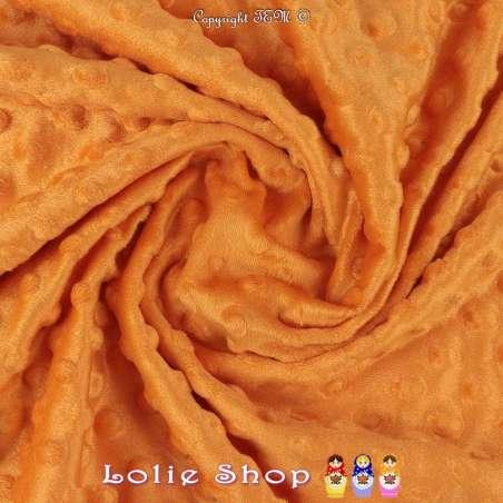 Tissu Velours Minky Doux À Pois Orange Tangerine