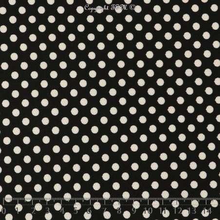 Jersey Cristal DOTSY Gomme Imprimé Pois (5mm) Fond Noir