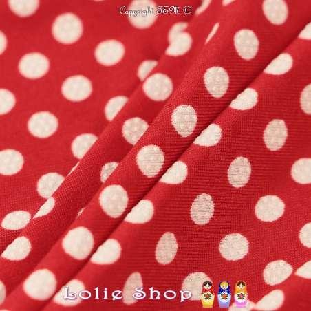 Jersey Cristal DOTSY Gomme Imprimé Pois (5mm) Fond Rouge Garance