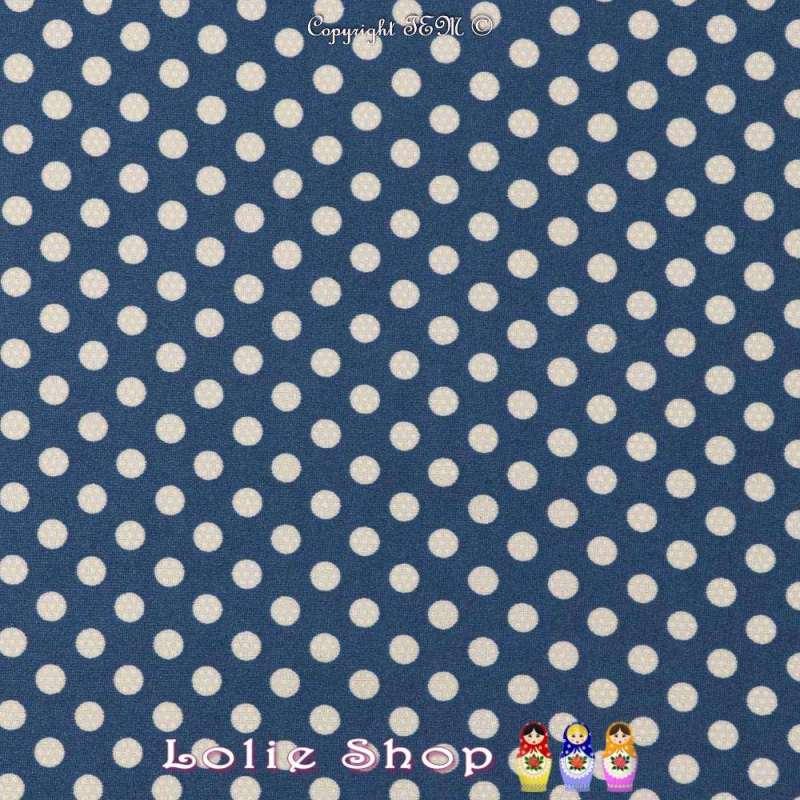 Jersey Cristal DOTSY Gomme Imprimé Pois (5mm) Fond Bleu Céruléen