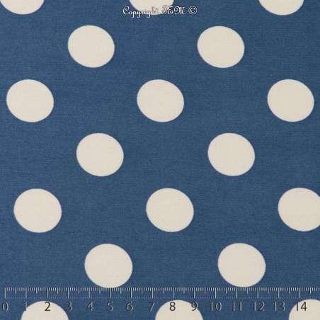 Jersey Cristal BELLAGIO Imprimé Thème Pois 2cm Fond Bleu. 15 x 15 Cm Photo