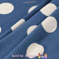 Jersey Cristal BELLAGIO Imprimé Thème Pois 2cm Fond Bleu