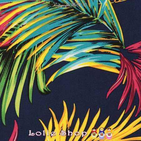 Jersey Cristal PALM'S Imprimé Tropical Fond Marine
