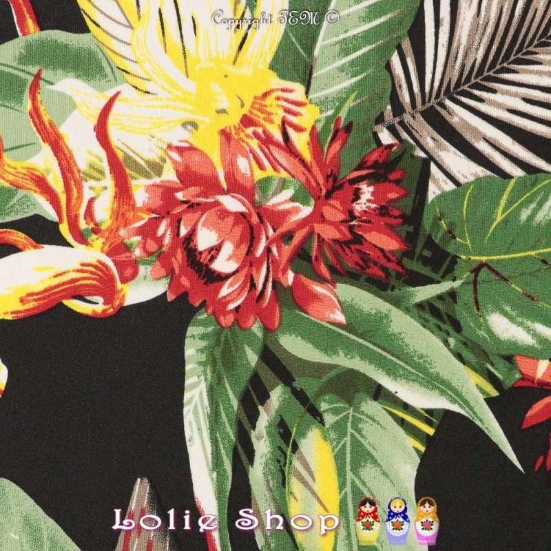 Jersey Cristal MACEO Imprimé Thème Exotique Ton Rouge Fond Noir