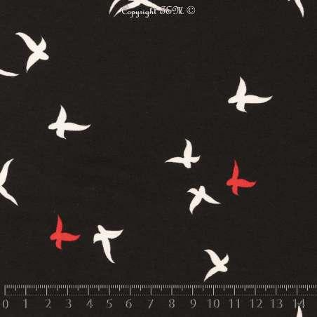 Tissu Microfibre Imprimé Oiseaux Fond Noir