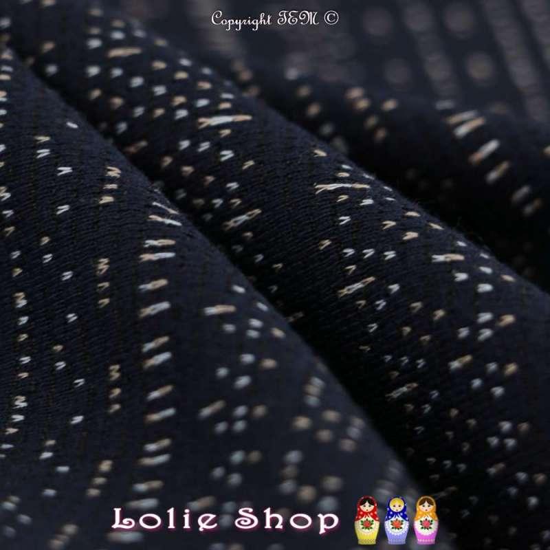 tissus-Jacquard Maille Motif Ethnique Style Braille Fond Marine