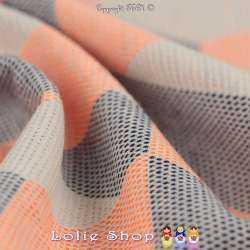 Jacquard Maille Texturé Motifs Hexagones Orange Fluo Fond Blanc Cassé