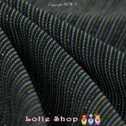 Jacquard Maille Texturé Linéaire Lurex Or Fond Noir