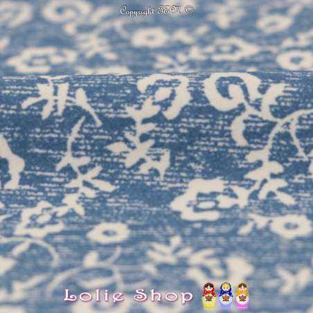 Tissu Microfibre Imprimé LOU Fond Denim Clair