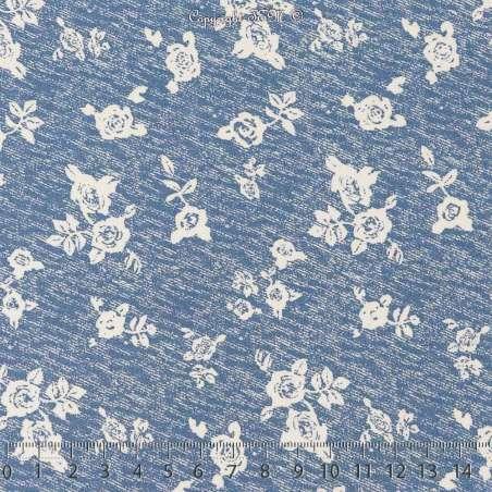 Tissu Microfibre Imprimé LOLA Fond Denim Clair. 15 x 15 Cm Photo