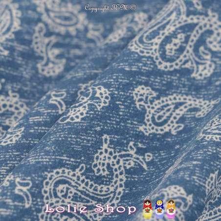 Tissu Microfibre Imprimé Bouquets de Fleurs Fond Denim Clair