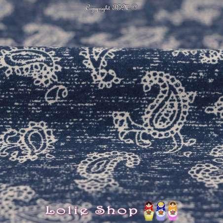 Tissu Microfibre Imprimé Bouquets de Fleurs Fond Denim Foncé