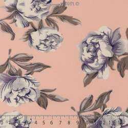 Tissu Microfibre Imprimé Pivoines Fond Rose Dragée. 15 x 15 Cm Photo