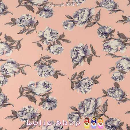Tissu Microfibre Imprimé Pivoines Fond Rose Dragée
