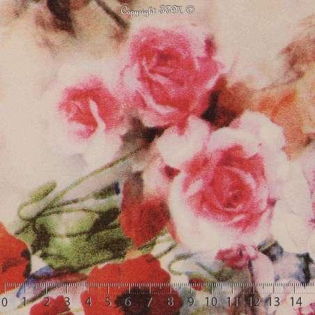 Tissu Microfibre Imprimé Rose & Coquelicot Fond Blanc Cassé. 15 x 15 Cm Photo