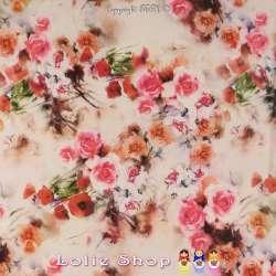 Tissu Microfibre Imprimé Rose & Coquelicot Fond Blanc Cassé