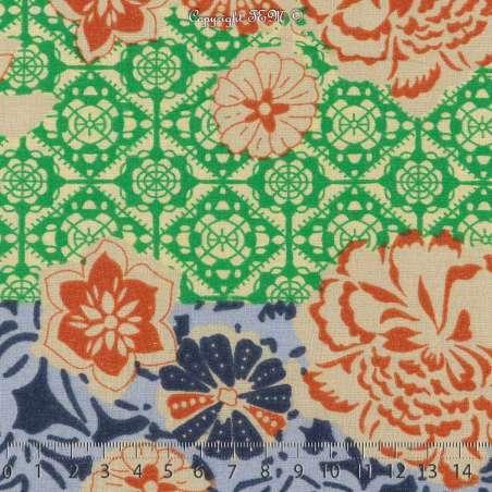 Coton Imprimé Fleuris À Base Ton Marine Fond Colorés. 15 x 15 Cm Photo