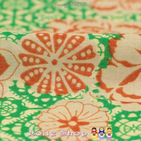 Coton Imprimé Fleuris À Base Ton Marine Fond Colorés