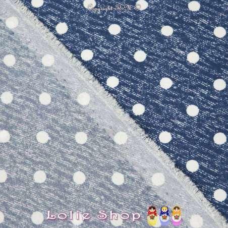 Tissu Microfibre Imprimé À Pois (6mm) Fond Denim Foncé