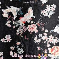 Velours Imprimé Satiné Fleurs Japonaise & Grue Fond Noir