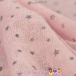 Tricot Maille Fine Entrelacées BLOOM LITE Imprimé Étoiles Rose Dragée