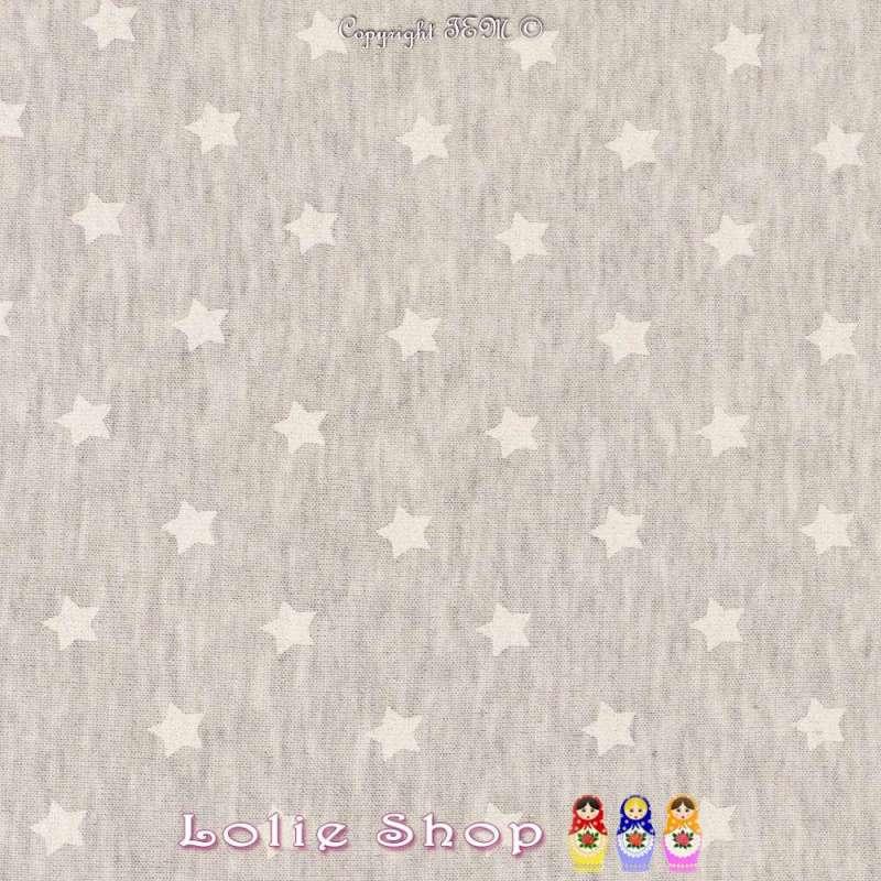 Jersey Coton Imprimé Étoiles Blanches Fond Gris Chiné
