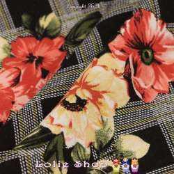 Tissu Viscose Imprimé Modèle KUMIKO Fond Noir