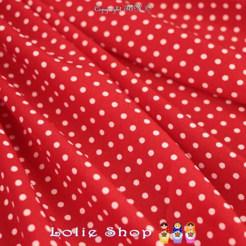 Tissu Microfibre Imprimé Pois Blanc Fond Rouge