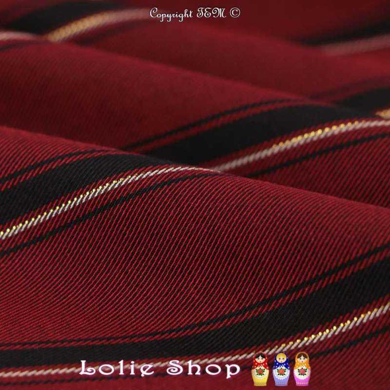 Twill Haute Couture Viscose Marinière Bordeaux et Or