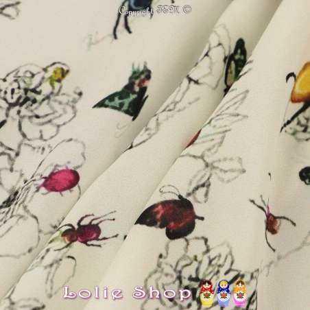 Tissu Microfibre Élasthanne Imprimé Pivoines & Scarabées Fond Blanc
