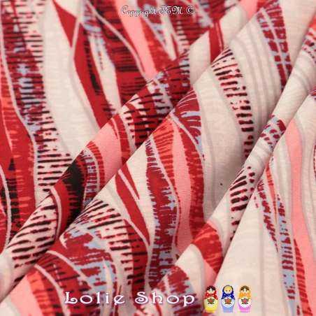 Microfibre Élasthanne Imprimé Ondulé Ton Rouge