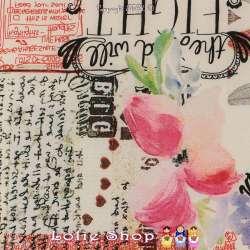 Tissu Microfibre Élasthanne Imprimé Typographie & Roses Fond Blanc
