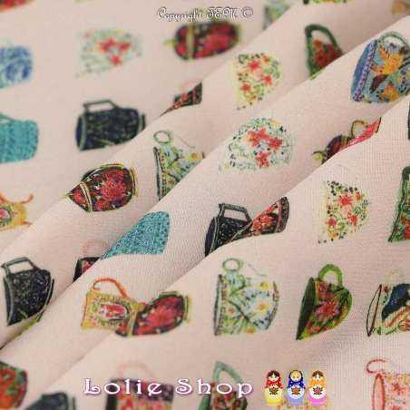 Tissu Microfibre Imprimé Tasses À Motif Colorés Fond Rose Dragée