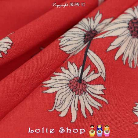 Crêpe Viscose Imprimé Marguerites Fond Rouge Garance