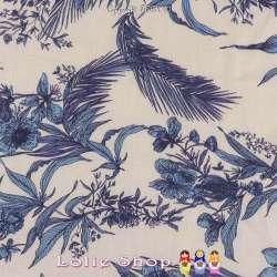 Tissu Viscose Imprimé Exotique Ton Bleu Fond Écru
