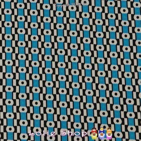 Satin de Coton Imprimé Motifs Graphiques Ton Bleu et Noir