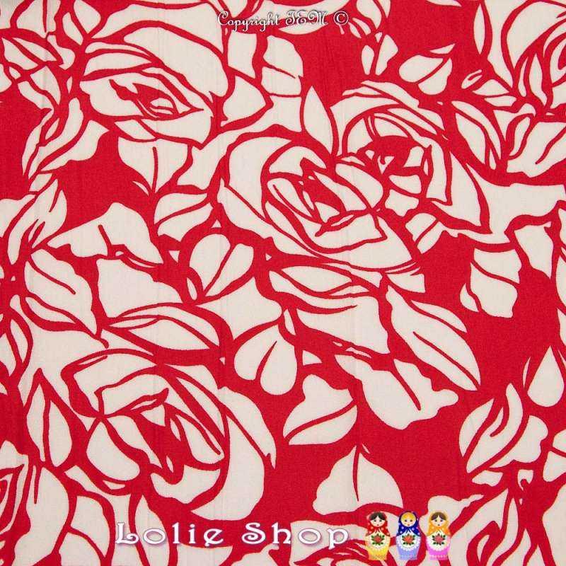 Magnifique Microfibre Imprimé Fleur Blanche Fond Rouge Modèle PLUNZ