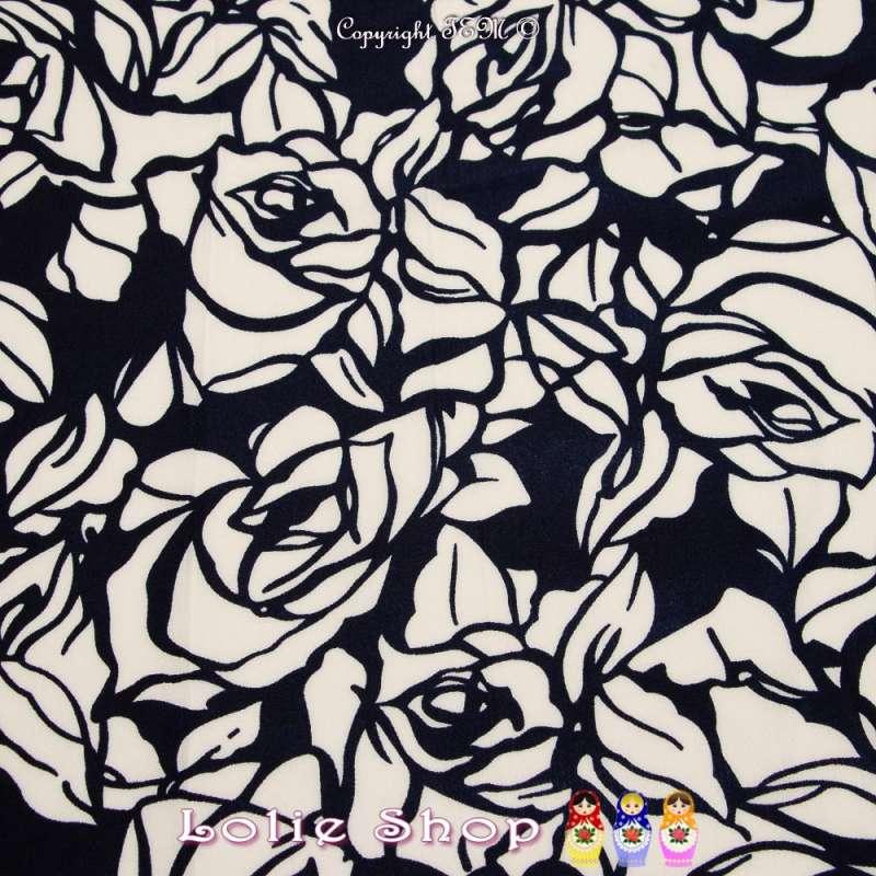 Microfibre Imprimé Fleur Blanche Fond Noir