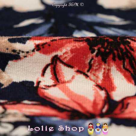 Jersey Viscose Imprimé Fleuris Modèle FLORA Ton Rouge