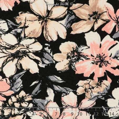 Jersey Viscose Imprimé Fleuris Modèle FLORA Ton Rose