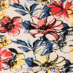 Jersey Viscose Imprimé Fleuris Modèle FLORA Ton Jaune