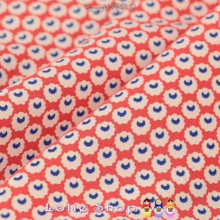 Tissu Microfibre Imprimé Petites Formes Rondes Fond Corail