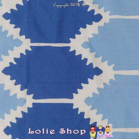 Tissu Viscose Imprimé Motif Géométrique Ton Bleu & Blanc