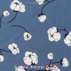 Tissu Viscose Imprimé Fleurs De Coton Fond Bleu