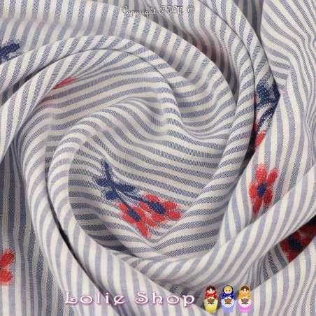 Tissu Viscose Imprimé Marinière Fleurs Brodé Rouge