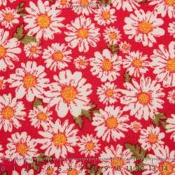Microfibre Imprimé Tournesol Blanche Fond Rouge - Photo 15x15 Cm