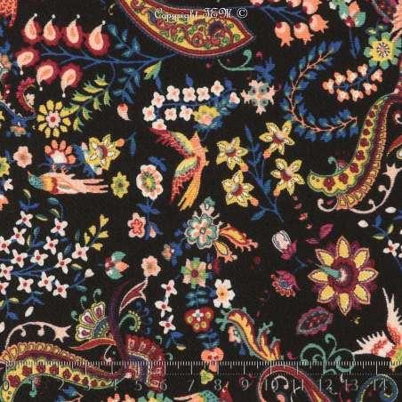Double Crêpe Imprimé Phoenix & Fleurs Colorés Fond Noir