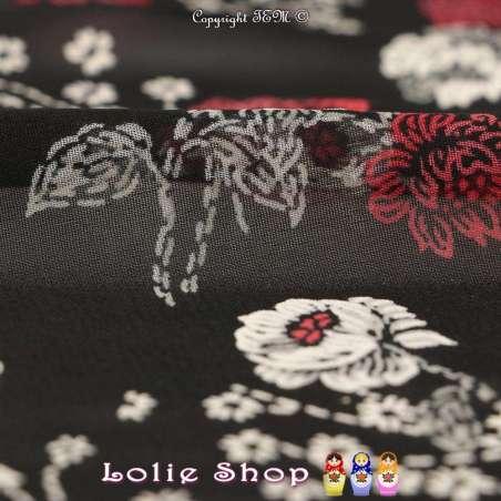 Mousseline Imprimé Effet Brodé & Floqué Fleurs Japonaise Fond Noir